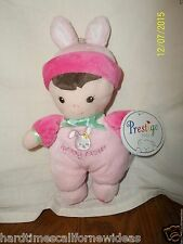 Prestige Baby Pink Plush My First Easter Brunette Doll Rattle With Tag
