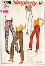 "Vintage Hip Hugger Pants Sewing Pattern S7726 Size Waist 24"""