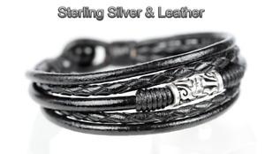 1B-704 Solid Sterling Silver Leather Black Onyx Armband Wristband Men Bracelet