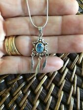 Genuine Womens Sterling Silver 925 Blue Topaz Pendant Chain Necklace