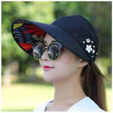 Womens Lady Visor Hat Summer Sun Beach Ladies Foldable Roll Up Wide Brim Cap UK