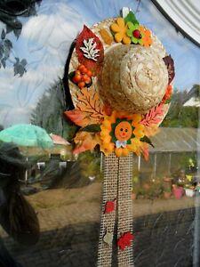 1-Strohhut-Wandbehang-Türbehang-Türkranz-Fensterdeko-Herbst-Deko-Sonnenblume-72