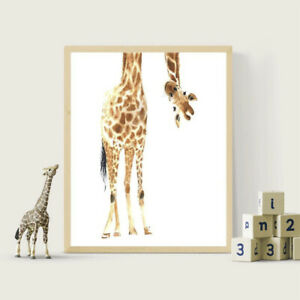 Giraffe Canvas Wall Art Panting Poster Baby Toddler Room Decor Animal Picture