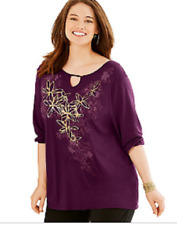 New Just My Size Graphic 3/4 Sleeve Key Hole Neckline Fluid Drape Tunic Top 3X