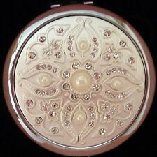 "BEAUTIFUL ""DIAMANTE & PEARL"" DOUBLE SIDED COMPACT MIRROR WITH MAGNIFIER BNIB"