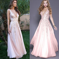 Womens Sequins V Neck Maxi Backless Evening Party Cocktail Ball Gown Tulle Dress