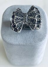 Sterling Silver Bow Tie Ring Accented w Marcasite
