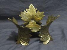 Vintage Cast Iron Metallic Gold Leaf Pillar Candle Holder Pedestal Fall Autumn