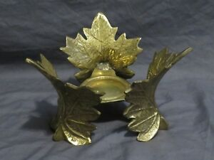 Vintage Cast Iron Metallic Gold Leaf Pillar Candle Holder Pedestal Fall Autumn