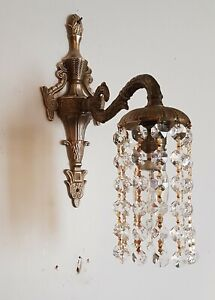 SET OF 3 TRIO Vintage Wall Lights / Down Lights - Strings of Crystals Bohemian