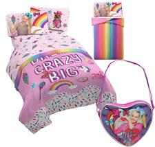 Girls Jojo Siwa Full Size Reversible Comforter+Sheet Set & Crossbody Bag Purse