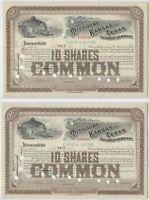 1908 Missouri Kansas Texas Railway Company Stock Certificates Pair