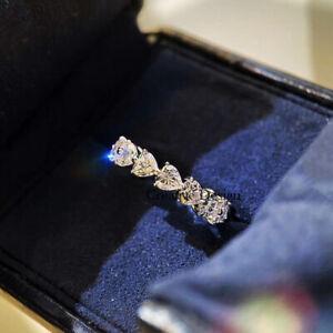 Full Eternity Anniversary Ring 1 Ct Heart Cut VVS1 Diamond 14k White Gold Finish