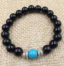 8 mm beautiful handmade obsidian turquoise beads Tibet silver elastic bracelet