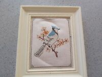 """FRAMED COMPLETED CROSS STITCH BLUE JAY BRANCH 5 5/8"""" X 6 3/4"""" TINY STITCHES BLUE"""