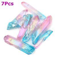 7Pcs Titanium Pink Blue Natural Quartz Crystal Healing Seed Rock Pendants Points