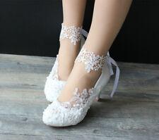 "Gorgeous Unique Ivory White Lace Wedding Bridesmaid Bridal shoes 2"" 3"" heels"