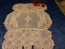 anciens 3napperons rectangulaires  coton crochet les papillons 48c29cm art déco