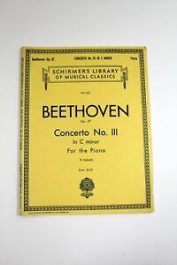 Vintage Piano Sheet Music Book Schirmer's Beethoven Concerto No. III in C Minor