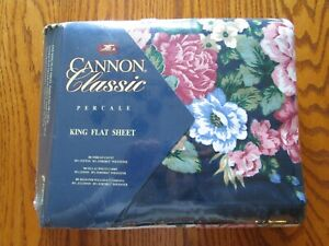 Vtg Cannon Percale King Flat Sheet ~ NEW ~Floral Empress Garden-Made in USA