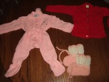 Vintage ban-lon bunny west red sweater dorlee outfit one piece booties baby lot