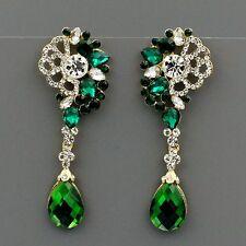 New 18k Gold GP Green Crystal Rhinestone Drop Chandelier Dangle Earrings 01958
