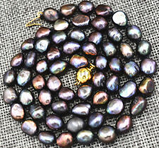 Charming! 9-10MM black Akoya Cultured Pearl Necklace Baroque 25 inch