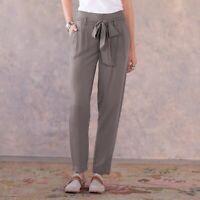Sundance Women's Size 10 Grey Derian Pant Pleated Tie Waist Tapered Leg GUC