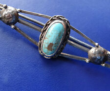 "Turquoise 3.9"" brooch hinged c pin -D94 antique arts & crafts solid Silver &"