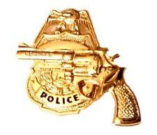 Police Badge Revolver Tie Tac Tack Officer Pistol Shield Gold Plate 3608 New