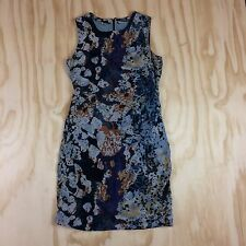 Andrew Marc Size 6 Silk Blend Lined Sleeveless Floral Shift Dress with Ruching