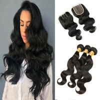 Brazilian Body Wave Hair 3Bundles With 4*4 Lace Closure Human Hair Extensions US