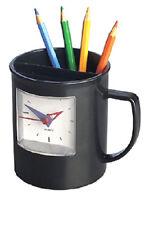 Tazza porta penne portapenne  e porta-fermagli, con orologio in ABS