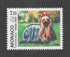 Dog Art Full Body Portrait Postage Stamp Yorkshire Terrier Monaco 1989 Mnh
