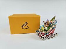 Enamel Present Filled Rhinestone Crystal Christmas Santa Sleigh Trinket Box