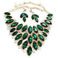 Statement Choker Necklace Earrings Rhinestone Green Pageant Prom Ballroom Drag