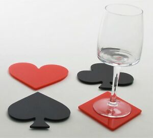Set of 4 Acrylic Playing Card Suit Coasters -  Las Vegas Poker Party Casino