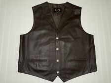 Scully Vest XXL Brown Leather Buffalo Nickel Snaps Lapels EXCELLENT Condition!