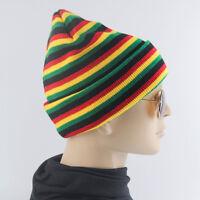 Striped Plain Beanie Knit Ski Cap Skull Hat Warm Solid Color Winter Cuff
