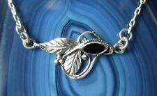 Collar Plata 925 ÓNIX NEGRO HOJA VIDES Ornamento Art Nouveau 45cm