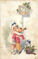 Girl kiss harlequin puppet doll New Year clock early greetings postcard