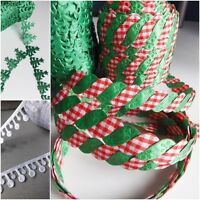 GREEN CHRISTMAS TREES star trim wraping sewing snowball drops white lace xmas