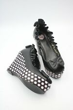TUK womens heels size 7 black and pink polka dot bows pumps wedge shoes