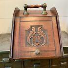 Victorian Antique Beautifully Carved Coal Scuttle Hod Ash Box W/ Original Pan