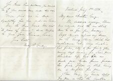 1873 Letter to Commodore George Dewey from Sister Mary Gridley on Death of Wife