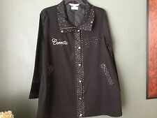 LADIES CRYSTAL CUSTOM  CORVETTE LILAC BLOOM JACKET SIZE XL WITH TINY FLAW NEW