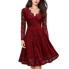 Lady V Neck Lace Long Sleeves Cocktail Prom Ball Gown Party Evening Skater Dress