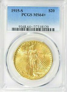 RARE- 1915 S - SAINT-GAUDENS - GOLD DOUBLE EAGLE - PCGS  MS 64 + GEM - $3,888.88