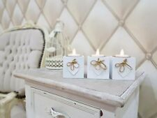 3pc white wooden heart tealight holders candle set shabby chic vintage wedding