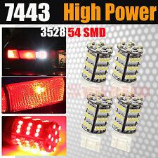 4x 7443 54-SMD Chip LED Red Dual Filament Turn Signal Blinker Parking Light Bulb